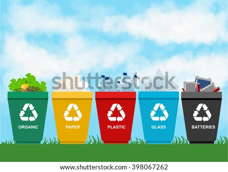 Recycle garbage bins. Separation concept. Set waste: plastic, organic, battery, glass, metal, paper. Trash categories. - stock vector