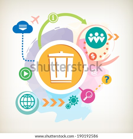 Recycle garbage can and cloud on abstract colorful watercolor background with different icon and elements.  - stock vector