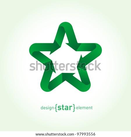 Recycle green Vector Star with arrows. Company Logo template - stock vector