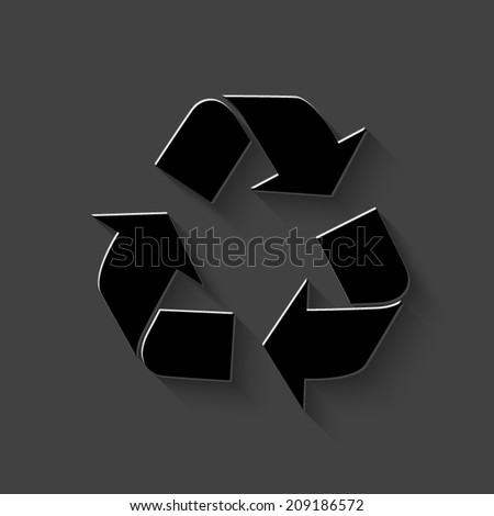 Recycle icon - black vector illustration with shadow on dark background