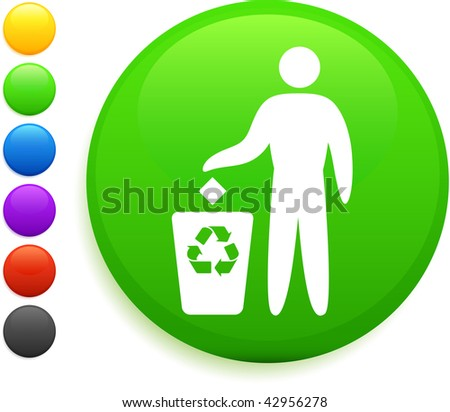 recycle icon on round internet button original vector illustration 6 color versions included