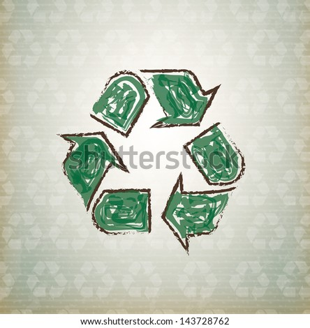 recycle icon over vintage background vector illustration - stock vector
