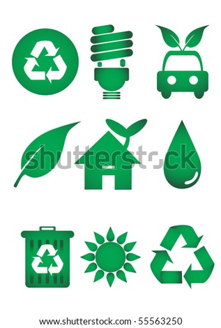 Recycle icon set - stock vector