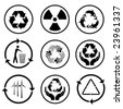 Recycle icons. Black and white. - stock photo