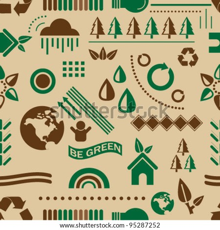 Recycle icons seamless background - stock vector