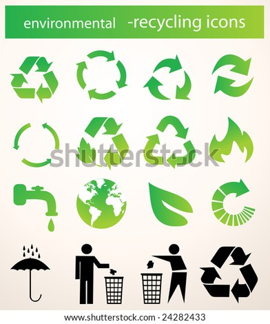 recycle icons vector - stock vector