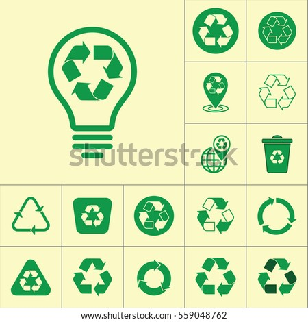 recycle lamp bulb icon on yellow background, recycling set