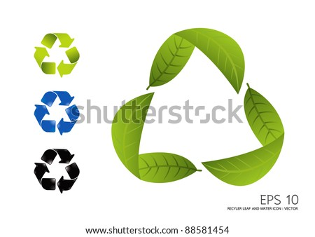 RECYCLE LEAF AND WATER ICON vector - stock vector