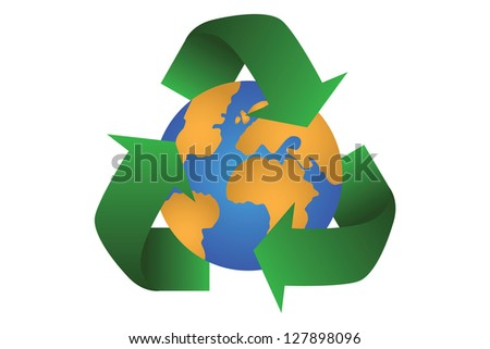 Recycle logo with earth globe inside on a a white background