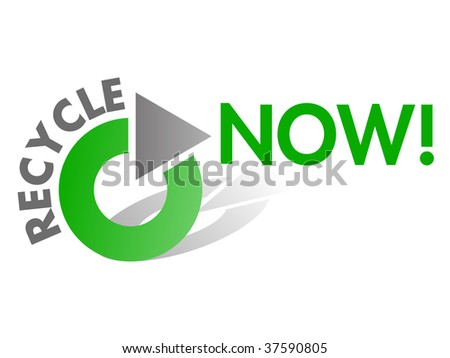 Recycle NOW Vector Design Element in Green and Grey - stock vector