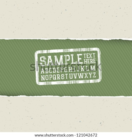Recycle paper background with torn edges and alphabet for headlines. Ecology template, vector, EPS10 - stock vector