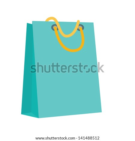 Recycle paper shopping bag in blue, vector 10 encapsulated postscript