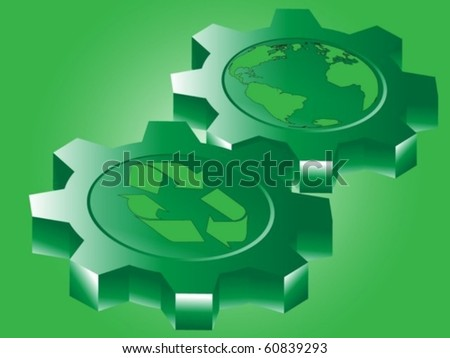 Recycle sign and planet earth on  gears symbolize that green power makes world going on - stock vector