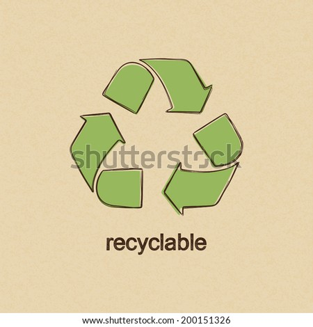Recycle sign in doodle style over carton paper background - stock vector