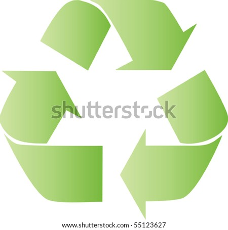 recycle sign in green with brighten effect - stock vector