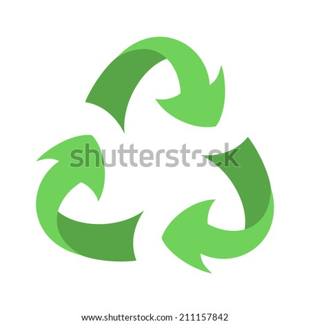 Recycle sign isolated on white background, recycle symbol of conservation, green icon on the packaging