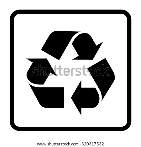 Recycle sign of conservation black icon isolated on white background. Recycling symbol on the packaging. Vector - stock vector