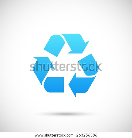 Recycle sign. Vector icon isolated on white background  - stock vector