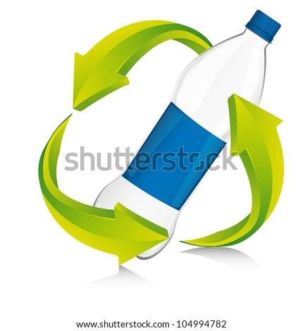 recycle sign with bottle plastic. vector illustration - stock vector