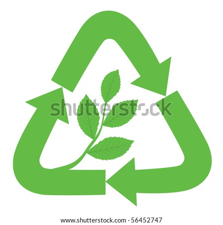 Recycle sign with branch and leaves inside as a symbol of nature, ecology and life. - stock vector