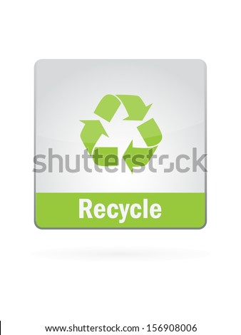 Recycle Symbol Illustration Icon On White Background - stock vector