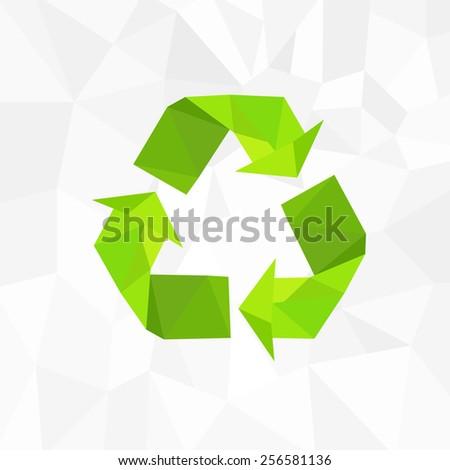 recycle symbol logo icon polygon triangle style vector illustration - stock vector