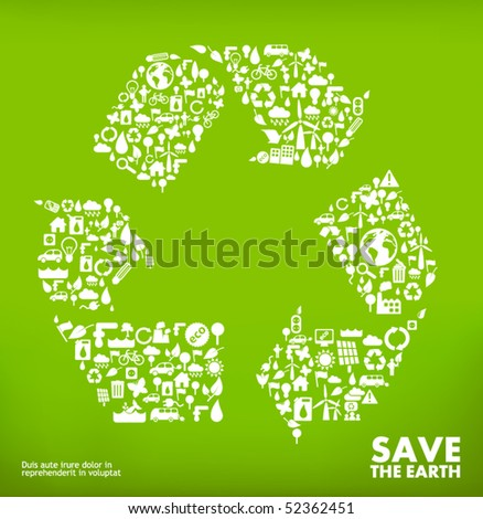 recycle symbol made from little ecology icons - stock vector