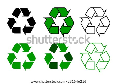 recycle symbol or sign set, isolated on white background. this symbol may be used to designate recyclable materials. vector illustration  - stock vector