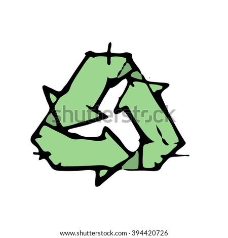 Recycle symbol or sign. Stock hand drawn vector illustration - stock vector