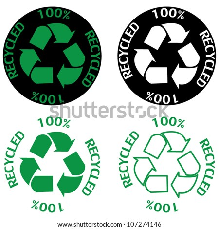 Recycle symbol set - stock vector