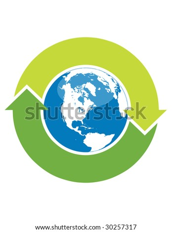 Recycle symbol surrounding the globe - stock vector