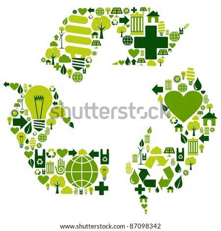 Recycle symbol with environmental icons . Vector file available.