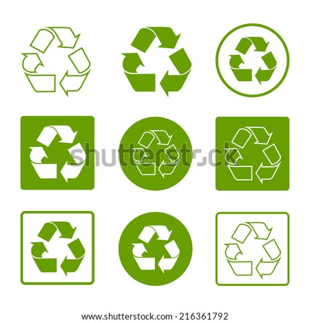 Recycle symbols green simple flat set icons isolated on white background. Can be used for package design and labeling. Vector illustration - stock vector