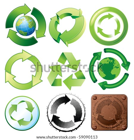 Recycle symbols, various stylized icons, emblems, symbols and buttons