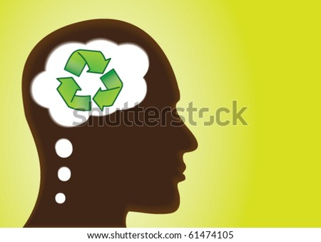 Recycle thought � save earth and  environment - stock vector