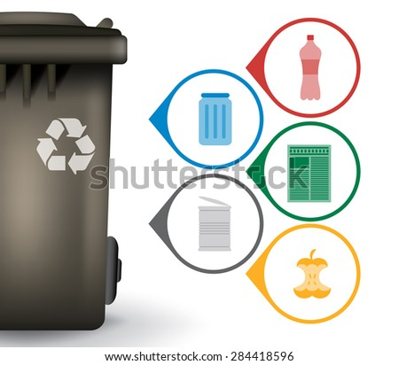 Recycle trash bin with garbage icons, vector illustration - stock vector