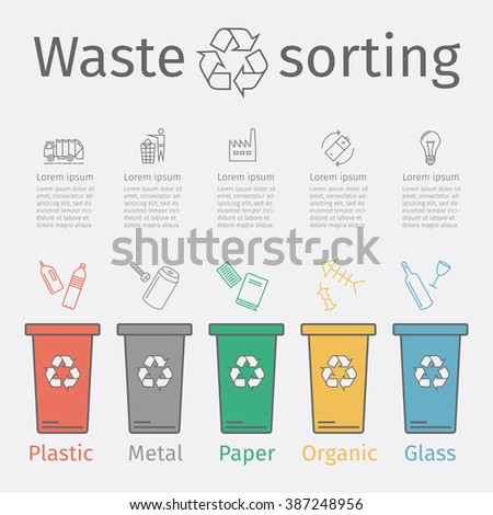 Recycle trash bins with garbage line icons. Waste sorting set. Vector illustration. - stock vector