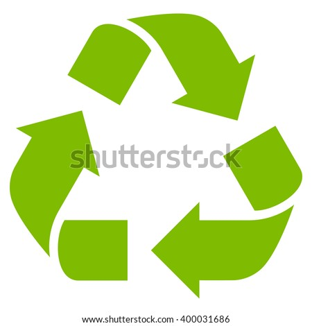 Recycle vector icon. Style is flat icon symbol, eco green color, white background.
