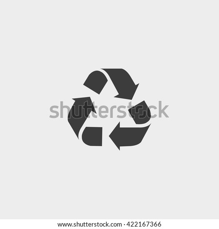 Recycle  vector icon. Style is flat symbol, gray color, rounded angles, white background. - stock vector
