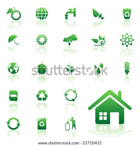 Recycle vector icons set for web design