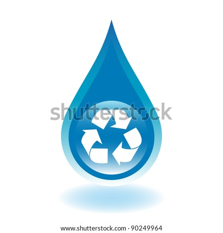 Recycle water droplet. Water conservation concept.) - stock vector