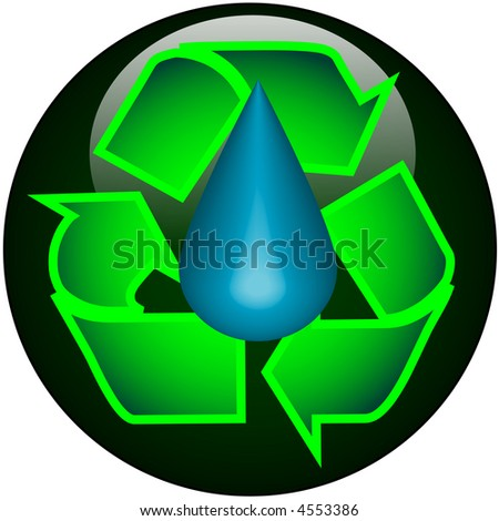 Recycle Water Web Button - stock vector