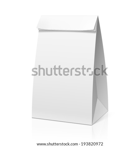 Recycle white paper bag. Vector. - stock vector