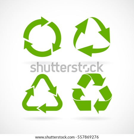 Recycled cycle arrows vector icon set illustration isolated on white background. Recycled eco vector icon.