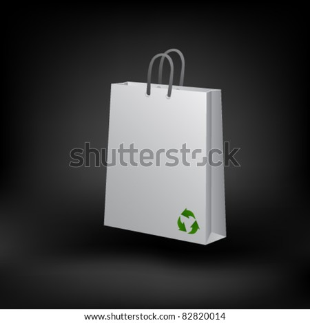 Recycled paper shopping bag. Vector - stock vector