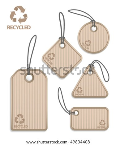 Recycled paper tags - stock vector