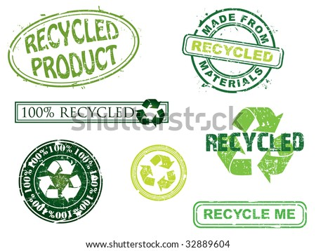 Recycled stamps, more in my portfolio. - stock vector