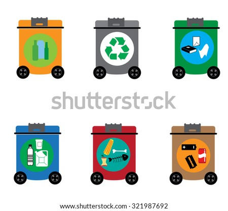 Recycling and waste reduction icons set with materials and sorting flat isolated vector illustration - stock vector