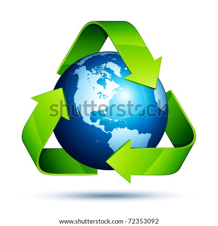 recycling arrows and blue earth - stock vector
