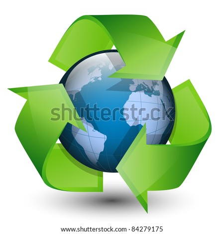 Recycling arrows and blue earth. Vector illustration - stock vector